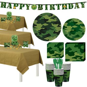 Camouflage Tableware Party Kit for 24 Guests