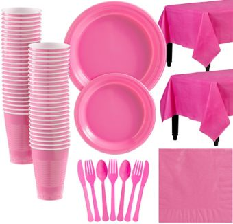 Bright Pink Plastic Tableware Kit for 50 Guests