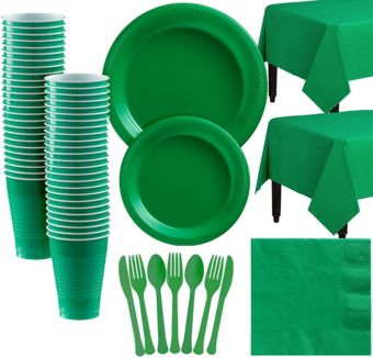 Festive Green Plastic Tableware Kit for 50 Guests