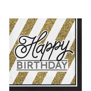 White & Gold Striped Happy Birthday Lunch Napkins 16ct