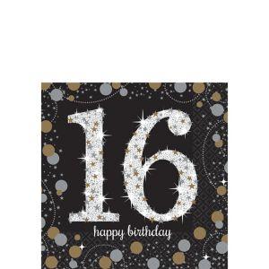 16th Birthday Beverage Napkins 16ct - Sparkling Celebration