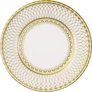 Porcelain Gold Dinner Plates 8ct
