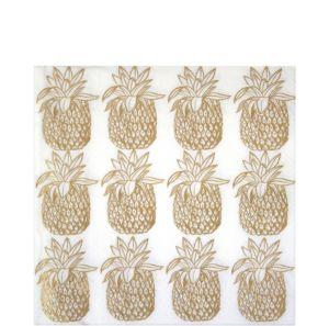 Metallic Gold Pineapple Beverage Napkins 12ct