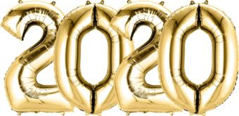 Giant Gold 2020 Number Balloon Kit