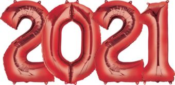 Giant Red 2021 Number Balloon Kit
