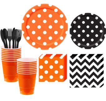 Black and Orange Polka Dot & Chevron Paper Tableware Kit for 16 Guests