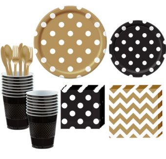 Gold and Black Polka Dot & Chevron Paper Tableware Kit for 16 Guests