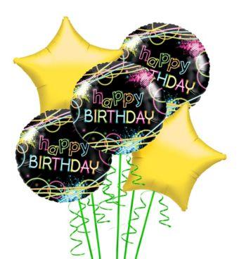 Neon Party Balloon Bouquet