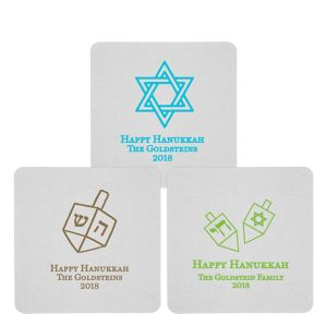 Personalized Hannukah 80pt Square Coasters