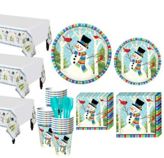 Colorful Smiling Snowman Tableware Kit for 50 Guests