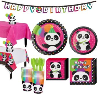 Panda Party  Tableware Party Kit for 16 Guests