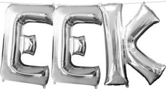 Air-Filled Silver Eek Letter Balloon Kit