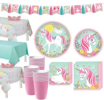 Magical Unicorn Tableware Party Kit for 24 Guests
