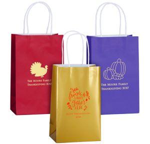 Personalized Medium Thanksgiving Kraft Bags