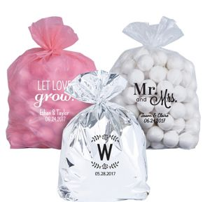 Personalized Medium Wedding Plastic Treat Bags