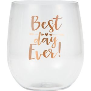 Best Day Ever Plastic Stemless Wine Glass