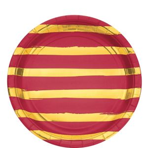 Metallic Gold Striped Red Lunch Plates 8ct