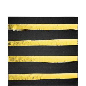 Metallic Gold Striped Black Lunch Napkins 16ct