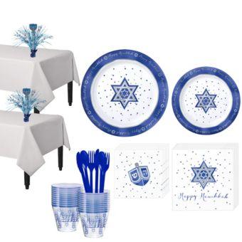 Happy Hanukkah Premium Tableware Kit for 20 Guests