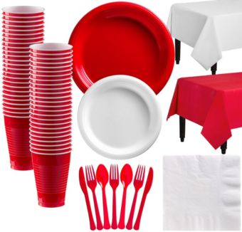 Red & White Plastic Tableware Kit for 50 Guests
