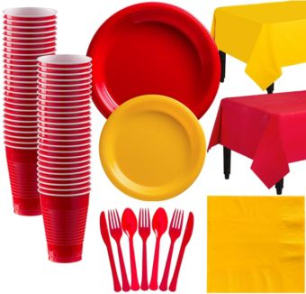 Red & Sunshine Yellow Plastic Tableware Kit for 50 Guests