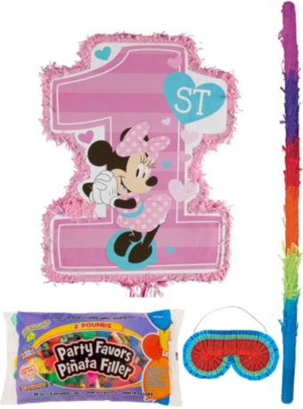 1st Birthday Minnie Mouse Pinata Kit with Candy & Favors