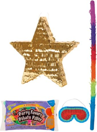 Foil Gold Star Pinata Kit with Candy & Favors