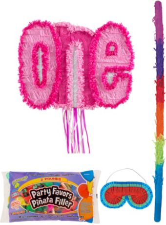 Pink One Pinata Kit with Candy & Favors