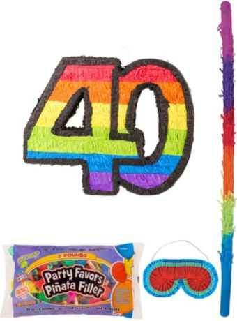 Rainbow Number 40 Pinata Kit with Candy & Favors