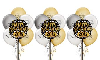 Black, Gold & Silver New Year's Balloon Kit