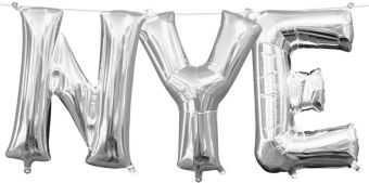 Air-Filled Silver NYE Letter Balloon Kit