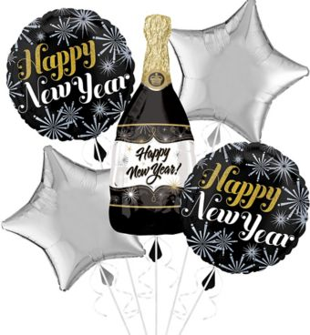 Giant Champagne Bottle and Stars Happy New Year Balloon Kit