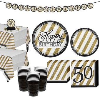 White & Gold Striped 50th Birthday Party Kit for 32 Guests