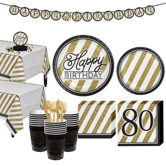 White & Gold Striped 80th Birthday Party Kit for 32 Guests