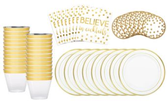Metallic Gold Cocktail Party Kit for 16 Guests
