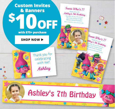 $10 off Custom Birthday Invitations & Banners with a $75+ purchase Shop Now