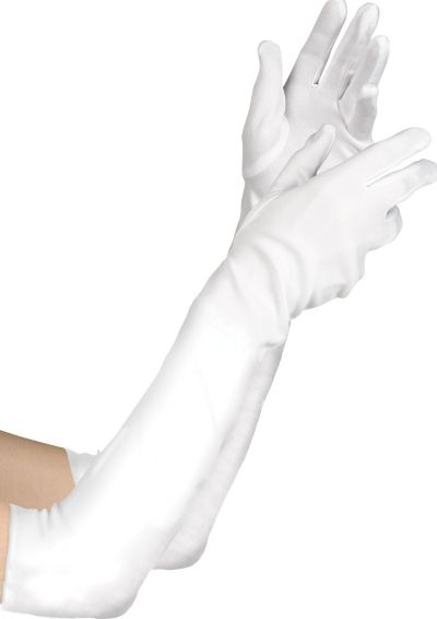 Child White Elbow Gloves