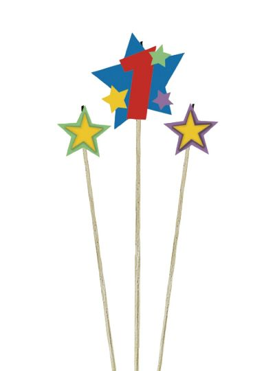 Number 1 & Star Candle Picks 3ct