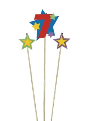Number 7 Star Birthday Toothpick Candles 3ct