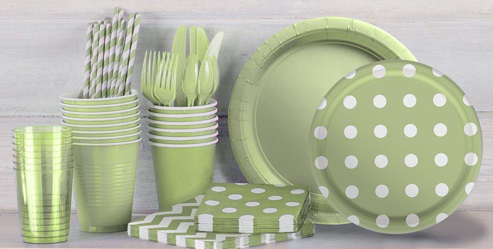Leaf Green Polka Dot and Chevron Tableware