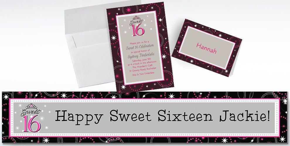 Custom Sparkle Sweet 16 Invitations and Thank You Notes