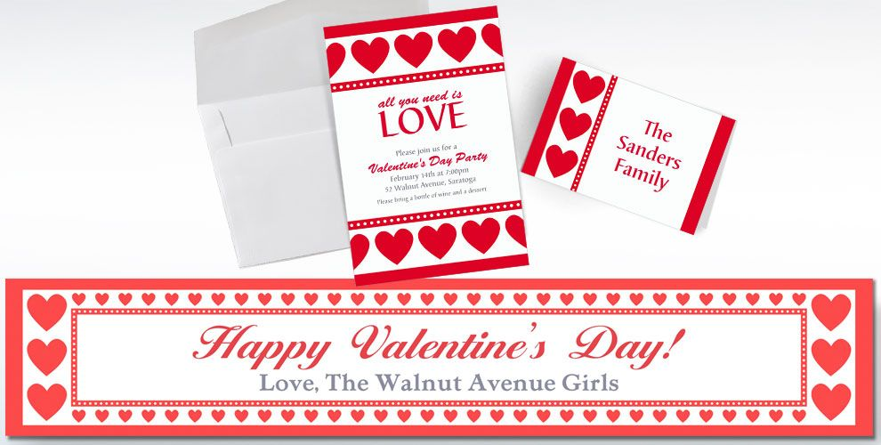 Custom Valentine\'s Day Invitations & Thank You Notes - Party City