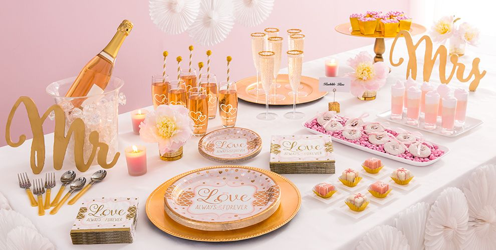 Sparkling pink wedding party supplies party city for Wedding party accessories