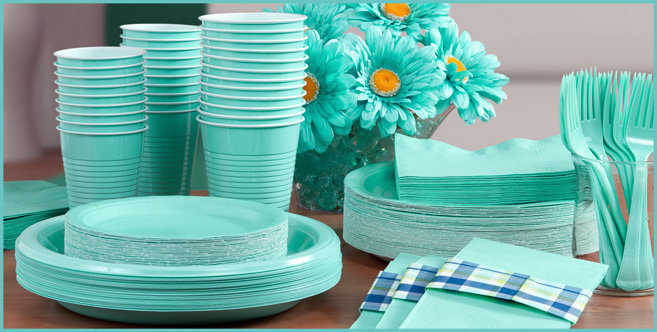 Solid Robins Egg Blue Tableware #3