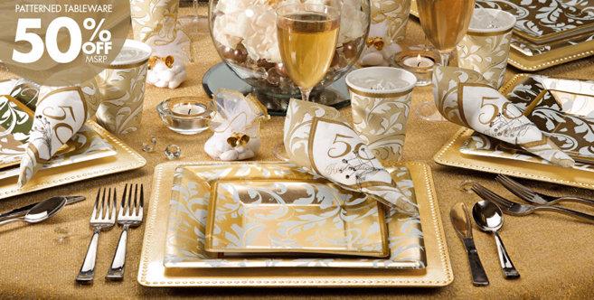 Golden 50th Anniversary Party Wedding Supplies