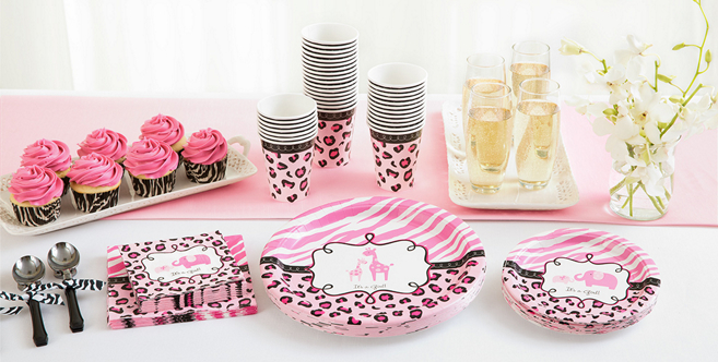 Pink Safari Baby Shower Party Supplies - Party City