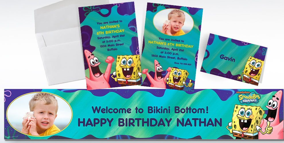 Custom SpongeBob Invitations Thank You Notes Party City – Spongebob Party Invitations