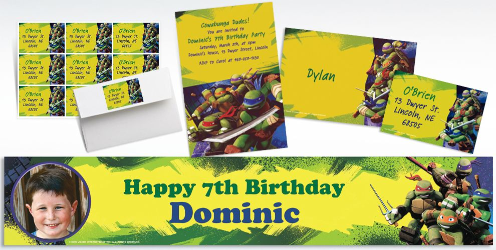 Custom Teenage Mutant Ninja Turtles Invitations and Thank You Notes