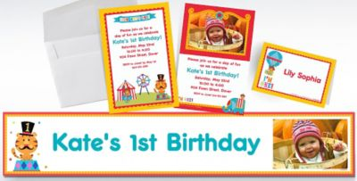 Custom FisherPrice 1st Birthday Circus Invitations Thank You