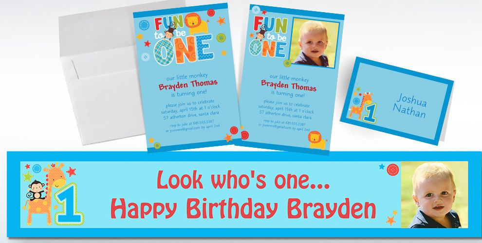 Custom One Wild Boy 1st Birthday Invitations Thank You Notes – Party City Birthday Invitations